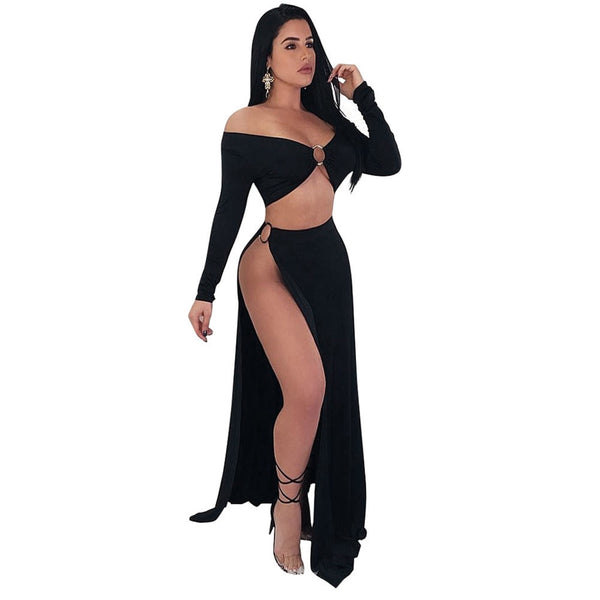 Sexy 2 Two Piece Set Women Open Side Skirt Suits Set Off the Shoulder Cropped Top High Cut Slit Night Club Party 2PCS Set Summer - KB ALL ABOUT SERVICEZ