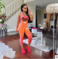 Summer Women PINK Letter Print Sets Sexy 2 Pieces Sets Women Sporting Tracksuit Cotton Blend T Shirt Pants S-XXXL Plus Size - KB ALL ABOUT SERVICEZ