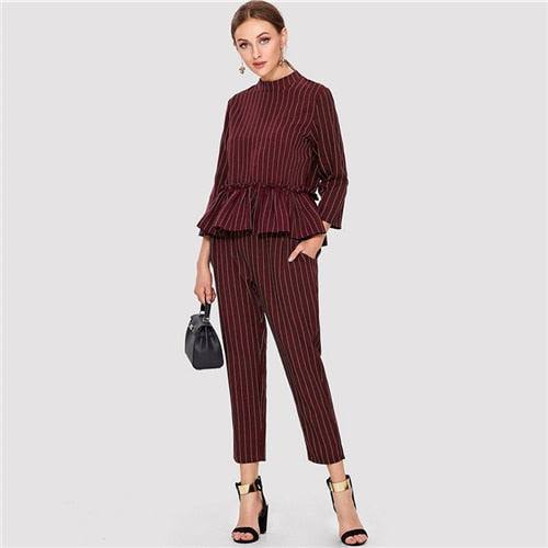 Sheinside Striped Burgundy Ruffle Hem Elegant Laides Top And Pants Two Piece Set 2018 Long Sleeve Women Autumn 2 Piece Set - KB ALL ABOUT SERVICEZ