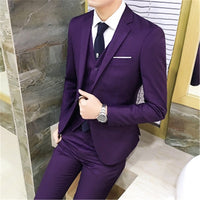 Suits S-3XL Fashion Shawl Collar Men Tuxedo Suit Costume Homme Mariage Jacket+Vest+Pants - KB ALL ABOUT SERVICEZ