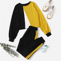 SHEIN Multicolor Colorblock Pullover and Contrast Sideseam Sweatpants Round Neck Set Women Autumn Elegant Workwear Twopiece - KB ALL ABOUT SERVICEZ
