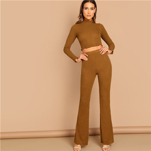 SHEIN Brown Mock-Neck Stand Collar Crop Fitted Tee Flare Hem Frill Plain Pants Set Women Autumn Elegant Workwear Twopiece - KB ALL ABOUT SERVICEZ