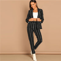SHEIN Black Stretchy Grid Print Shawl Collar Plaid Long Sleeve Blazer Pants Set Women Autumn Workwear Morden Lady Twopiece - KB ALL ABOUT SERVICEZ