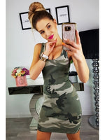 Fashion Women Sexy Tank Dress Slim Casual Camouflage Military O-Neck Print Splice Empire Mini Dresses Vestidos - KB ALL ABOUT SERVICEZ