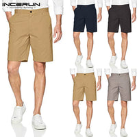 INCERUN Summer Casual Shorts Masculina Bermuda Shorts Chinos Shorts Cotton Beach Fashion Men Shorts Knee Length Loose Bottom - KB ALL ABOUT SERVICEZ