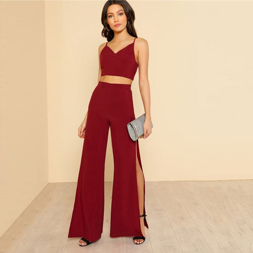 SHEIN Burgundy Crop Cami Top And Pants Set 2 Piece Outfits For Women Summer Sexy V Neck Top High Slit Wide Leg Pants Sets - KB ALL ABOUT SERVICEZ