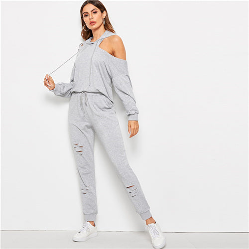 SHEIN Grey Asymmetrical Cutout Shoulder Hoodie and Ripped Sweatpants Set Women Spring Streetwear Sporting Casual Two Piece Sets - KB ALL ABOUT SERVICEZ