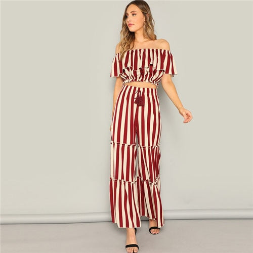 SHEIN Ladies Elegant Ruffle Detail Striped Bardot Crop Top And Tired Pants Two Piece Set Women Spring Highstreet Matching Sets - KB ALL ABOUT SERVICEZ