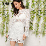 SHEIN Romantic White Sheer Guipure Lace Skinny Top And Skirt Women Two Pieces Sets 2019 Spring Round Neck Plain Twopiece - KB ALL ABOUT SERVICEZ