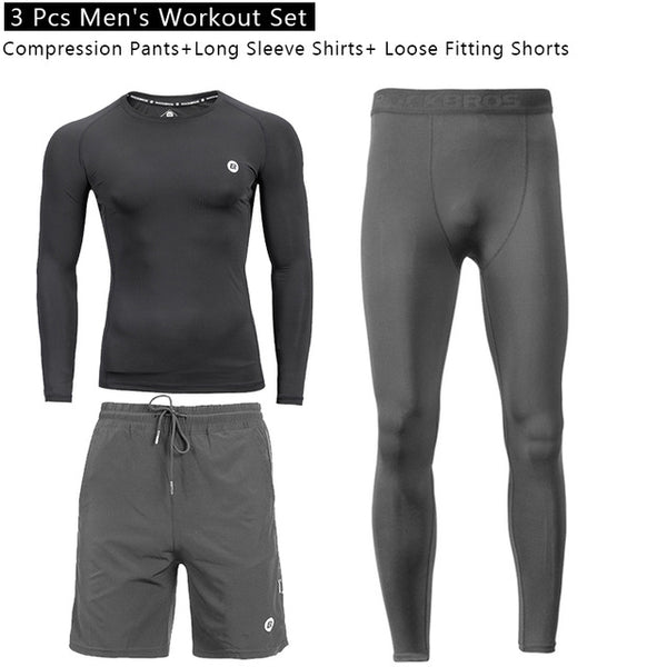 ROCKBROS Mens Workout Clothes Set Cycling Compression Pants Shirt Loose Fitting Shorts AthleticTraining Suit Fitness Clothing - KB ALL ABOUT SERVICEZ