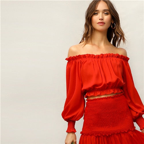 SHEIN Boho Red Frill Off Shoulder Smocked Cuff Crop Top and Shirred Panel Frill Trim Maxi Skirt Set Women Summer Two Piece Set - KB ALL ABOUT SERVICEZ
