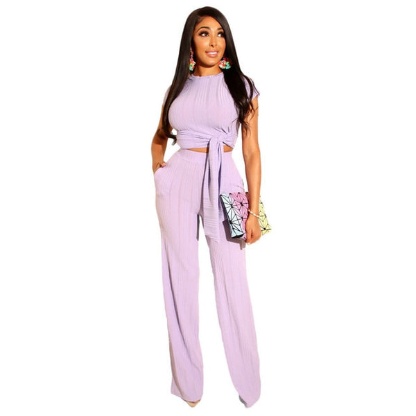 Women Sport Two Piece Set O-Neck Sashes Lace Up Knitted Ribbed Tops Short Sleeve Casual Suits Elastic Loose Long Pants - KB ALL ABOUT SERVICEZ