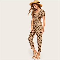 SHEIN Brown Knot Front Polka Dot Crop Sexy Top and Ruffle Waist Carrot Pants Set Women Spring Summer Boho Elegant Two Piece Set - KB ALL ABOUT SERVICEZ