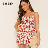 SHEIN Multicolor Petal Print Ruffle Wrap Peplum Crop Camisole Top and Shorts Set Women Summer V Neck Bohemian Two Piece Set - KB ALL ABOUT SERVICEZ