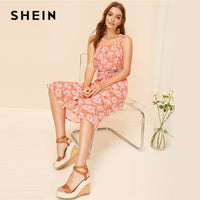 SHEIN Bohemian Orange Floral Ruffle Crop Top and Button Up Belted Midi Skirt Set Women Summer 2019 Beach Style Two Piece Set - KB ALL ABOUT SERVICEZ