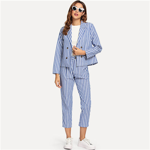 Sheinside Double Button Notched Collar Blazer With Pants Set Women 2019 Spring Elegant Striped Print Blazer Workwear 2 Piece Set - KB ALL ABOUT SERVICEZ