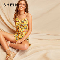 SHEIN Boho Crop Knot Front Ditsy Floral Cami Top And Ruffle Trim Short Sets For Women Summer Sexy Sleeveless Two Piece Set - KB ALL ABOUT SERVICEZ