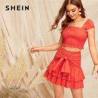 SHEIN Bohemian Orange Smocked Crop Top And Tie Waist Layered Ruffle Skirt Set Summer Women Vacation Sexy Two Piece Set - KB ALL ABOUT SERVICEZ