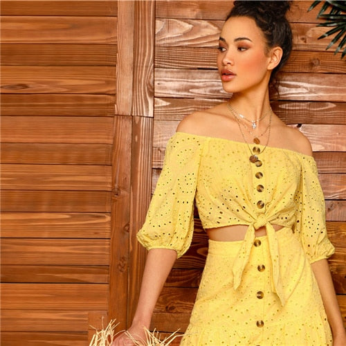 SHEIN Boho Yellow Off Shoulder Embroidered Eyelet Knot Crop Top and Scallop Edge Buttoned Skirt Sets Women Summer Two Piece Set - KB ALL ABOUT SERVICEZ