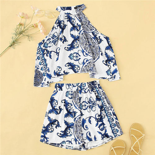 SHEIN Lady Boho Porcelain Print Swing Halter Crop Top And Shorts Two Piece Set Summer Beach Sexy Matching Sets Women Outfits - KB ALL ABOUT SERVICEZ