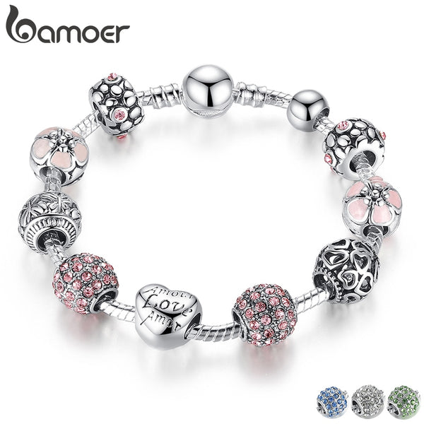 BAMOER Antique Silver Charm Bracelet & Bangle with Love and Flower Beads Women Wedding Jewelry 4 Colors 18CM 20CM 21CM PA1455 - KB ALL ABOUT SERVICEZ