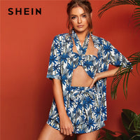 SHEIN Tropical Print Shirt With Halter Crop Top And Belted Shorts Matching Sets Lady Summer Boho Three Piece Set Women Outfits - KB ALL ABOUT SERVICEZ