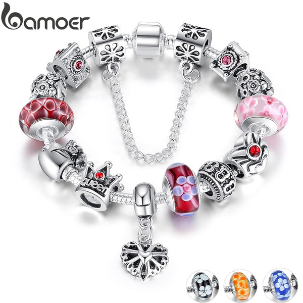 BAMOER Queen Jewelry Silver Charms Bracelet & Bangles With Queen Crown Beads Bracelet - KB ALL ABOUT SERVICEZ