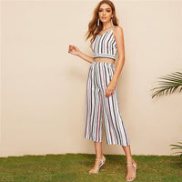 SHEIN Multicolor Knot Back Striped Cami Crop Top And Pants Two Piece Set Women Summer Bobo Casual Sexy Top Women Outfits - KB ALL ABOUT SERVICEZ