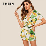 SHEIN Boho Beach Knot Front Fruit Print Crop Top And Shorts Sets For Women Summer Sexy Deep V Neck Short Sleeve Women Outfits - KB ALL ABOUT SERVICEZ