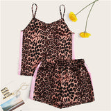 SHEIN Bohemian Multicolor Leopard Side Tape Camisole Top and Shorts Set Women Summer 2019 Spaghetti Strap Casual Two Piece Set - KB ALL ABOUT SERVICEZ