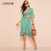 COLROVIE Green Knot Front Roll Sleeve Stripe Top With Skirt 2 Piece Set - KB ALL ABOUT SERVICEZ