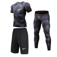 New 3D Compression Set Men Sportswear Fitness Tight Long T shirt Leggings Gyms Tracksuit Joggers Quick Dry Clothes 3pcs / Sets - KB ALL ABOUT SERVICEZ