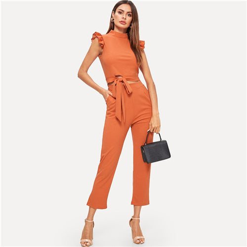 Sheinside Orange Contrast Ruffle Cuff Knot Edge Zipper Top With Pants Solid Elegant Two Piece Set Summer Women Workwear Outfits - KB ALL ABOUT SERVICEZ