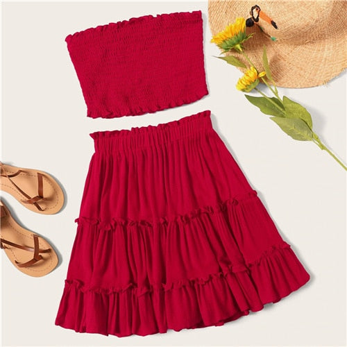 SHEIN Burgundy Smocked Bandeau Top And Layered Frill Hem Skirt Set Women Summer 2019 Sleeveless Beach Style Two Piece Set - KB ALL ABOUT SERVICEZ
