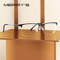 MERRYS DESIGN Men Titanium Glasses Frame Ultralight Square Eye Myopia Prescription Eyeglasses Male Half Optical Frame S2014 - KB ALL ABOUT SERVICEZ