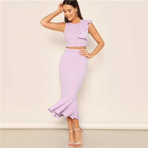 Sheinside Elegant Purple Ruffle Detail Crop Top And Mermaid Skirt Set Women 2019 Summer Stretchy Top And Midi Skirt 2 Piece Set - KB ALL ABOUT SERVICEZ