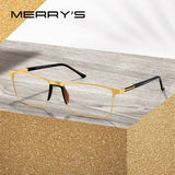 MERRYS DESIGN Men Titanium Alloy Glasses Frame Male Square Ultralight Eye Myopia Prescription Eyeglasses TR90 Nose Pads S2036 - KB ALL ABOUT SERVICEZ