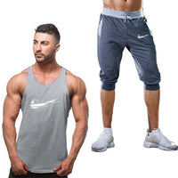 Summer sportswear set 2019 hot new men's vest suit + shorts fashion printed sweatpants fitness short runner M-2XL - KB ALL ABOUT SERVICEZ