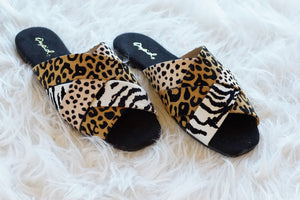 ANIMAL MIX PRINT SANDAL