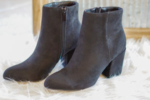 FAUX SUEDE ROUND BOOTIE