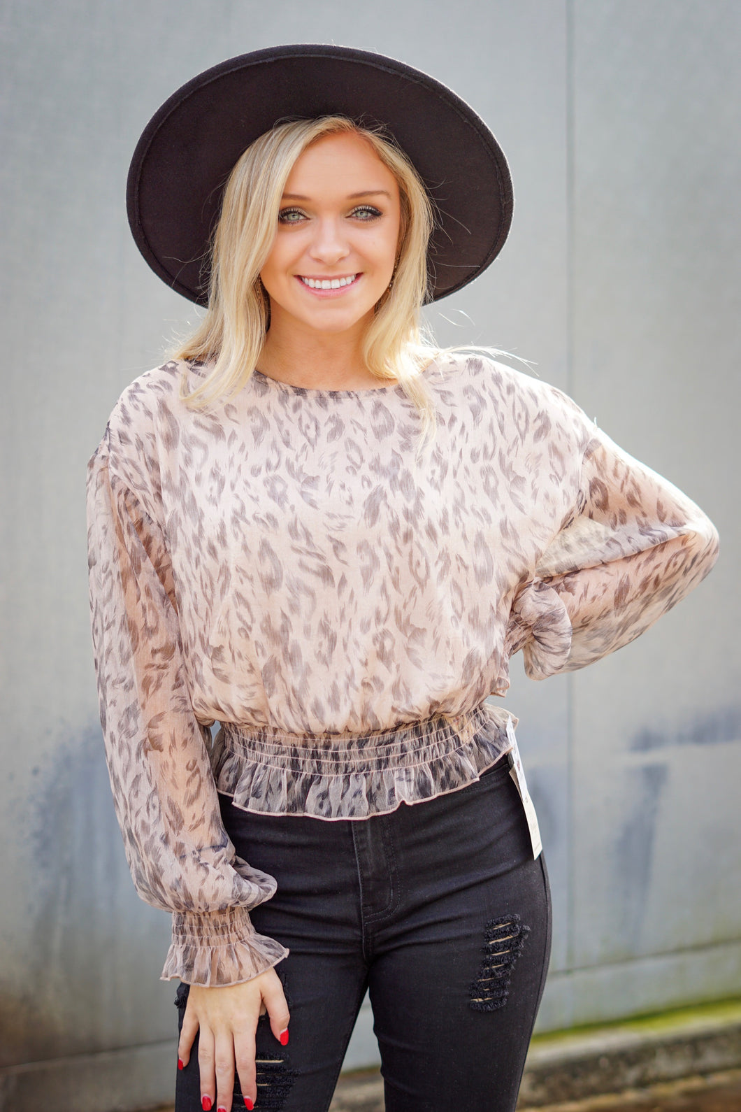 Smocked Leopard Blouse