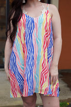 Load image into Gallery viewer, Rainbow Zebra Dress