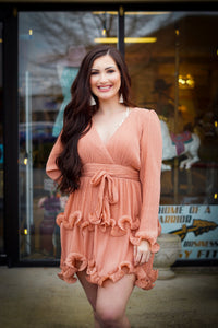 Pleated & Ruffled Sleeve Dress