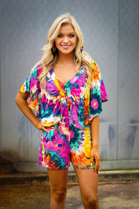 Tye dye button down romper