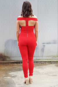 Red Straight Leg Jumpsuit
