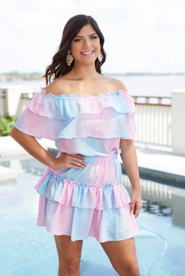 RUFFLED OFF SHOULDER MINI DRESS