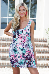 TRIPPING DAISY SLEEVELESS DRESS