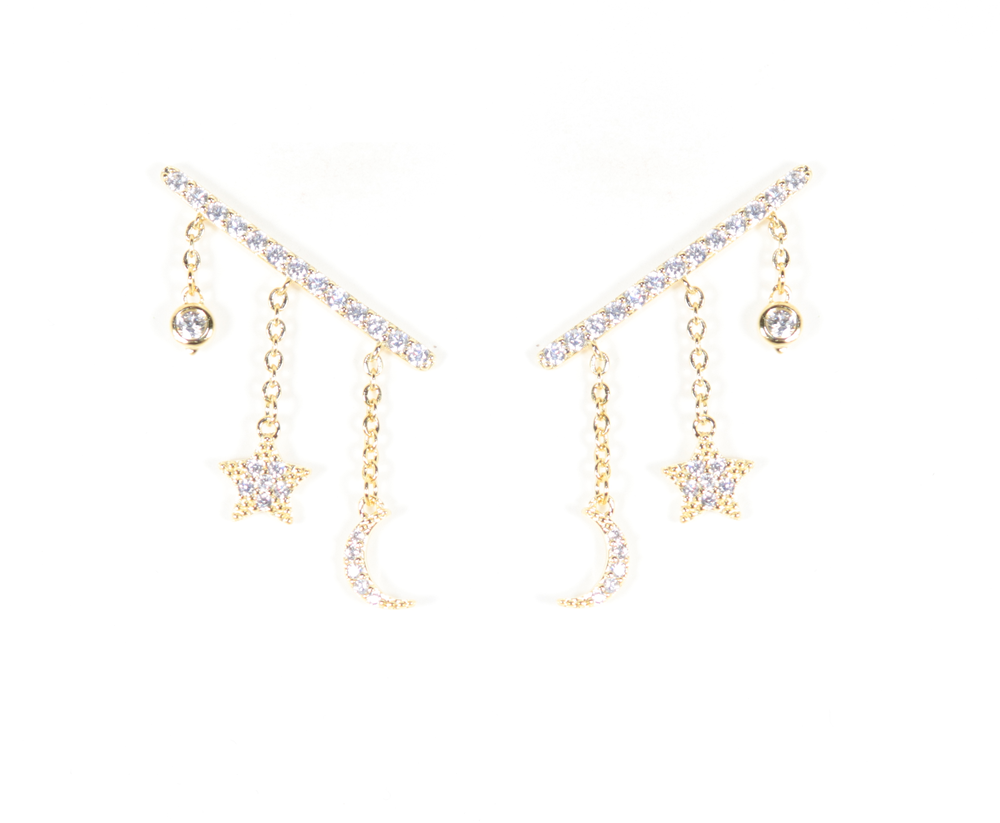 STAR & MOON CLIMBER EARRINGS - Breazy's Boutique