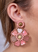 Load image into Gallery viewer, Seed Bead Flower Earrings