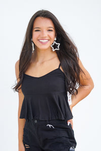 On Your Mind Cropped Ruffle Tank